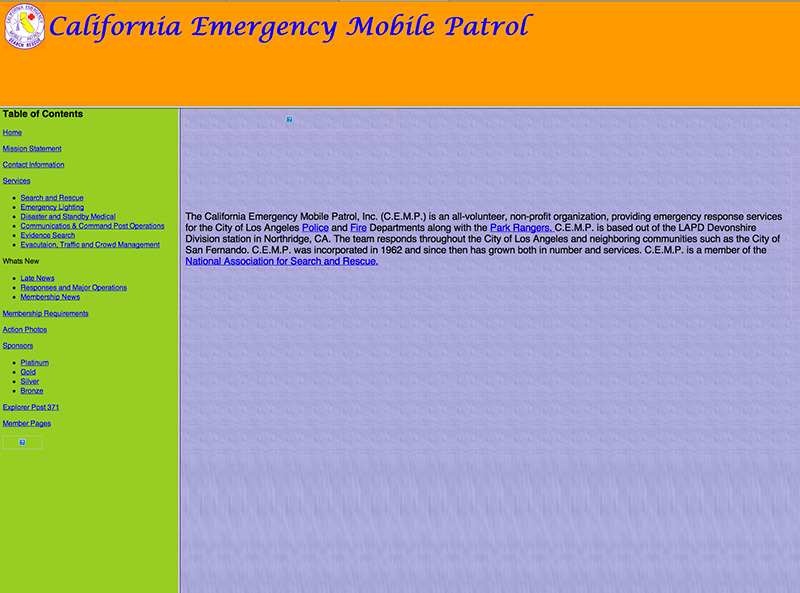 Our Website in 2000